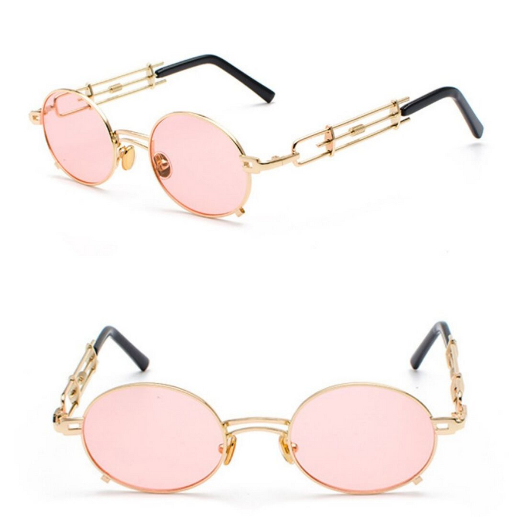 STRAP SUNGLASSES (GOLD-PINK LENS)