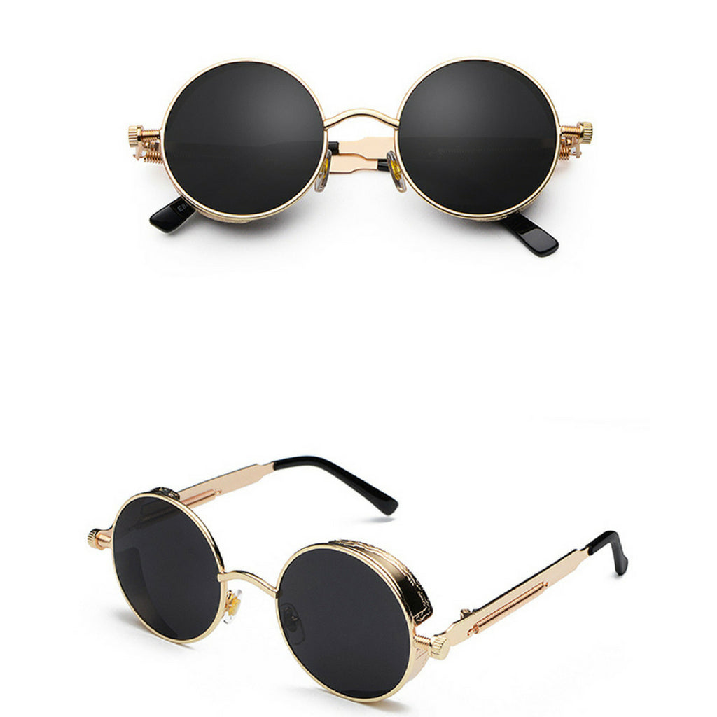 METAL ROUND STEAMPUNK SUNGLASSES ( GOLD/BLACK LENS)