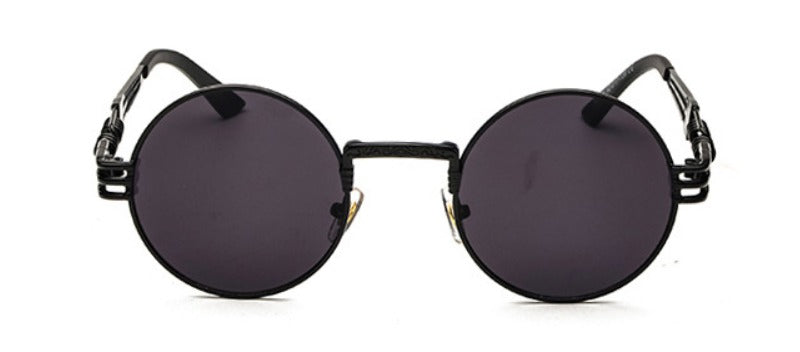 TRAPPER ROUND STEAMPUNK SUNGLASSES ( BLACK/BLACK LENS)