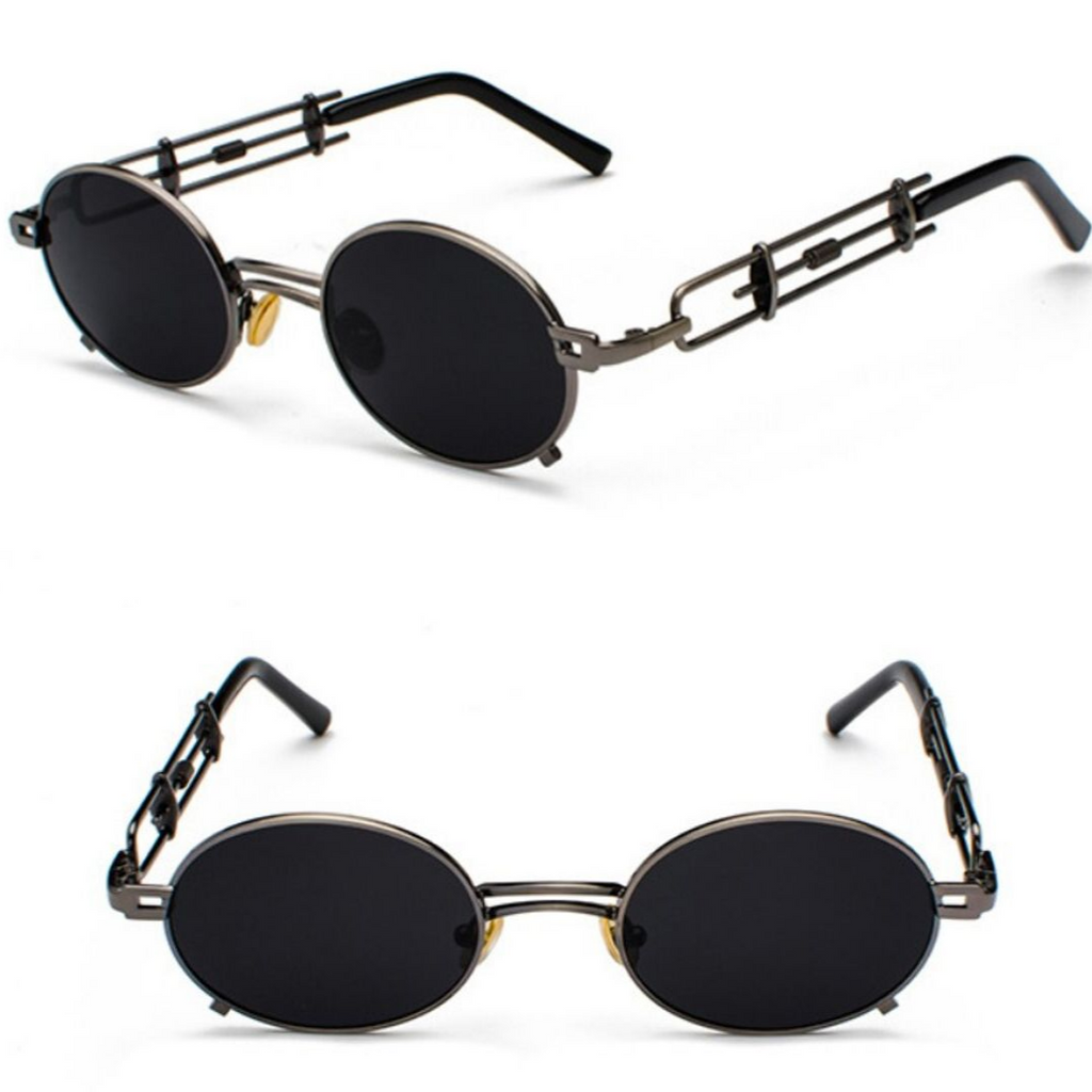 STRAP SUNGLASSES (BLACK-BLACK LENS)