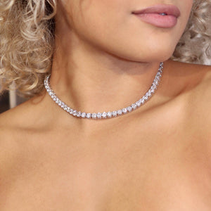 3MM TENNIS CHOKER ALLOY WITH WHITE GOLD PLATED