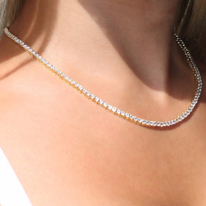 5MM TENNIS NECKLACE ALLOY YELLOW GOLD PLATED