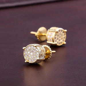 CZ CLUSTER ROUND BLING EARRINGS