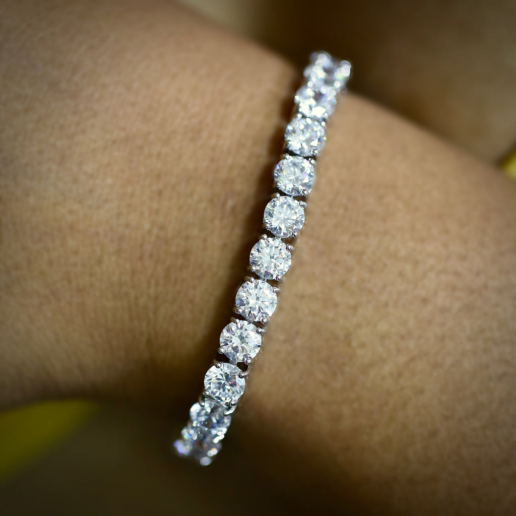 5MM WHITE GOLD PLATED TENNIS BRACELETS