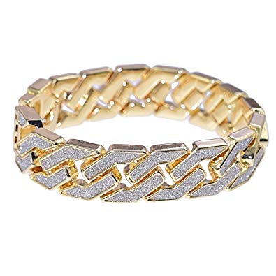 18MM SAND BLAST BLING LINK BRACELETS 18k YELLOW GOLD