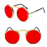 FILP UP METAL ROUND CIRCLE FRAME STEAMPUNK SUNGLASSES ( GOLD/RED LENS)