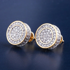 2-TONE CZ ROUND CUT EARRINGS