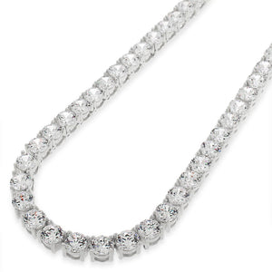SOLID S925 SILVER 5MM ROUND CUT CZ DIAMOND TENNIS CHAIN