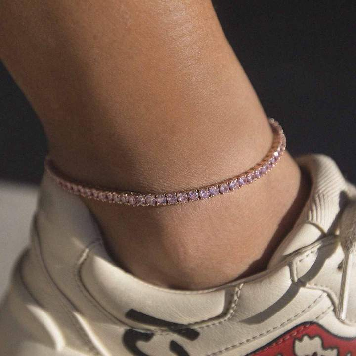 CZ TENNIS ANKLET 18K GOLD PLATED
