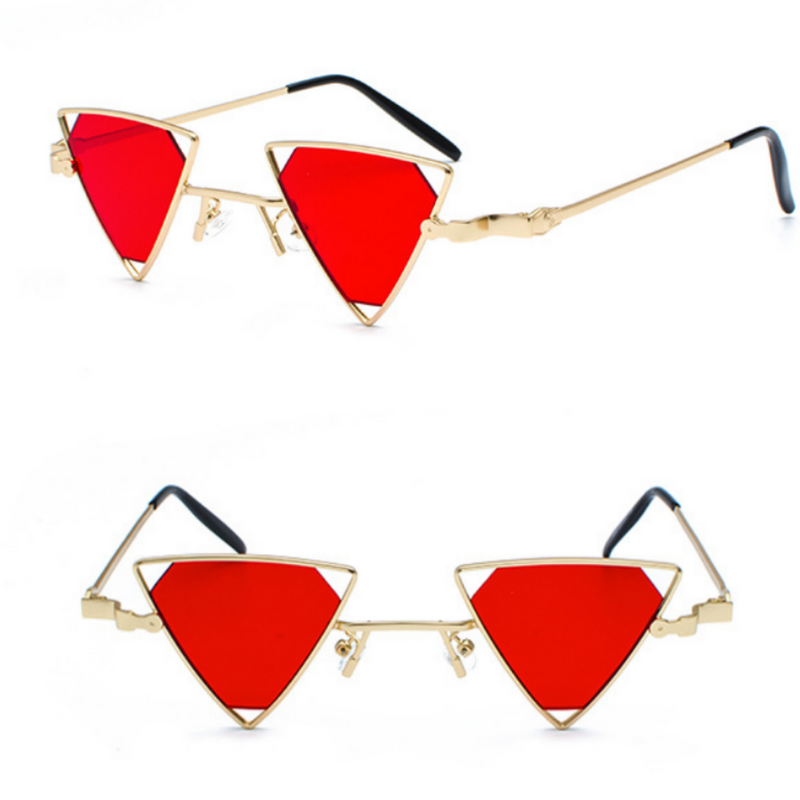 TRIANGLE GEOMETRY METAL FRAME HOLLOW EYEWEAR (GOLD-RED LENS)