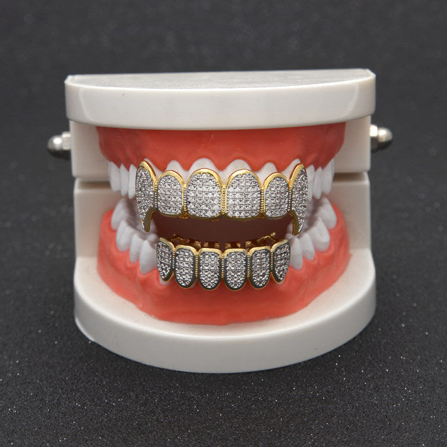 2-TONE VAMPIRE CZ DIAMOND TEETH GRIILZ