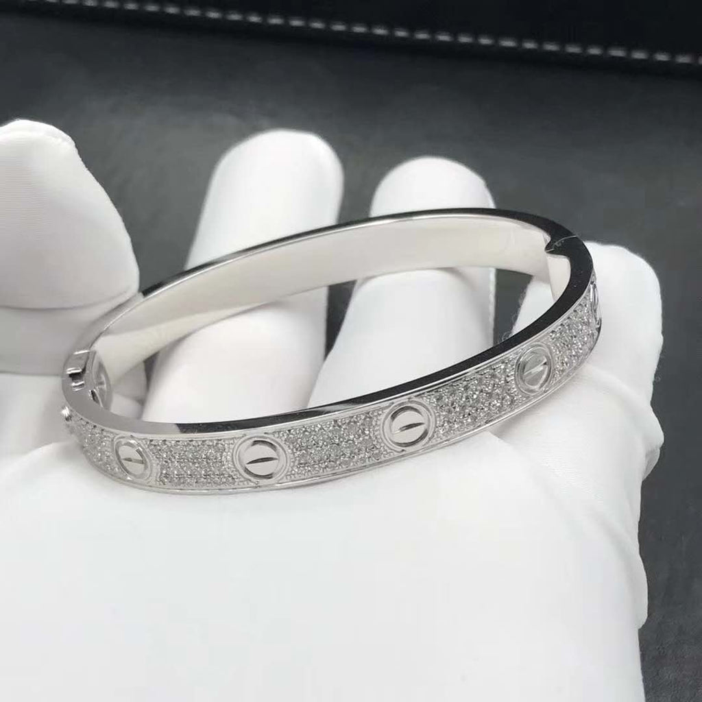 LᎾVE BANGLE CZ WHITE GOLD PLATED