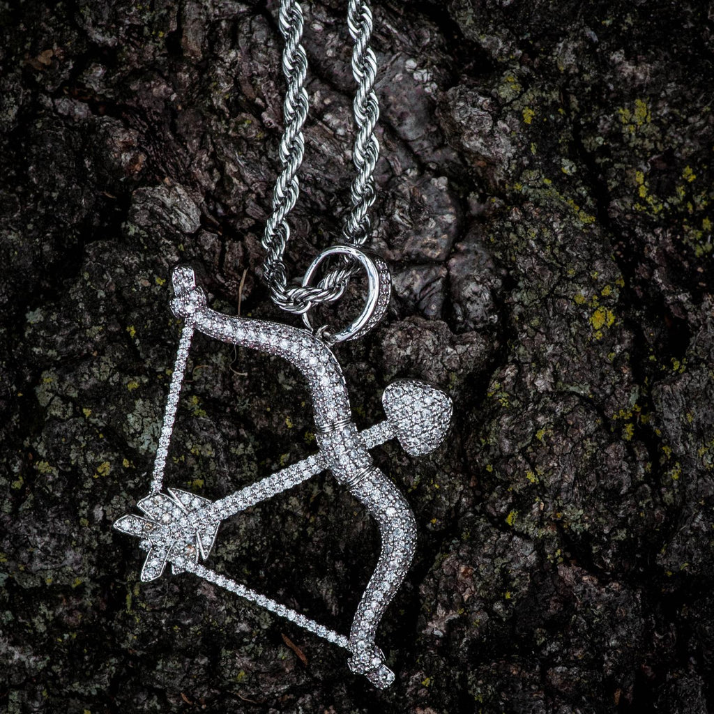 DIAMOND CZ BOW & ARROW PENDANT IN WHITE GOLD