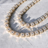10MM CLUSTERD TENNIS CHAIN-18k GOLD