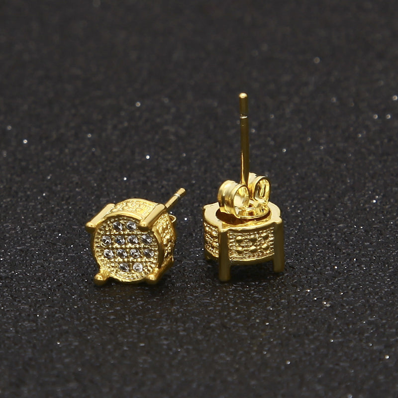 7MM 360 ROUND YELLOW GOLD EARRINGS