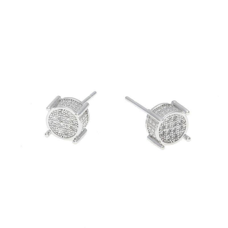 7MM 360 ROUND WHITE GOLD EARRINGS
