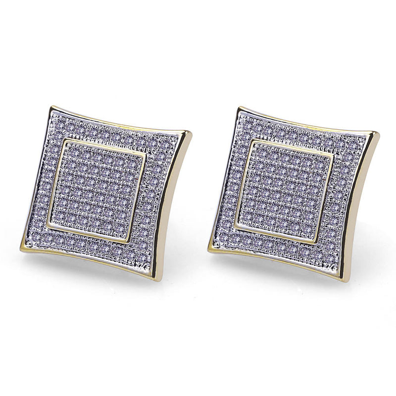 CZ  TWOTONE SQUARE SHAPE EARRINGS