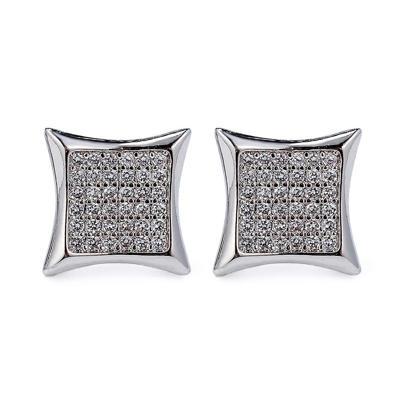 CZ SQUARE SHAPE WHITE GOLD EARRINGS