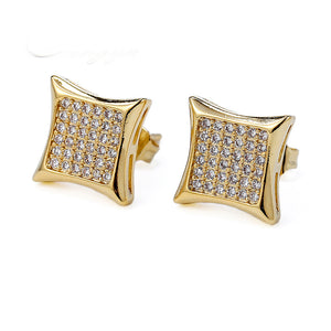 CZ SQUARE SHAPE YELLOW GOLD EARRINGS
