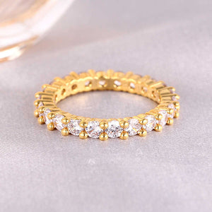 925.SOLID SILVER SINGLE LAYER DIAMOND BAND GOLD RING (12.40grams)