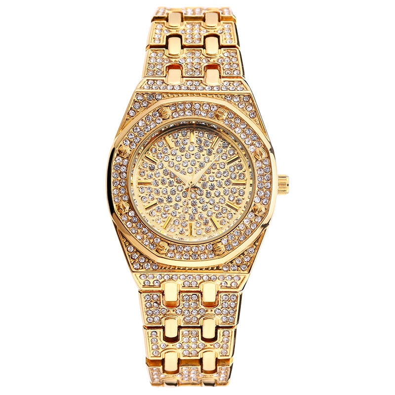 HEXAGON SHAPE DIAMOND SIMULATED YELLOW GOLD WATCH