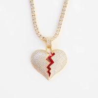 💔BROKEN HEART PENDANT YELLOW GOLD PLATED