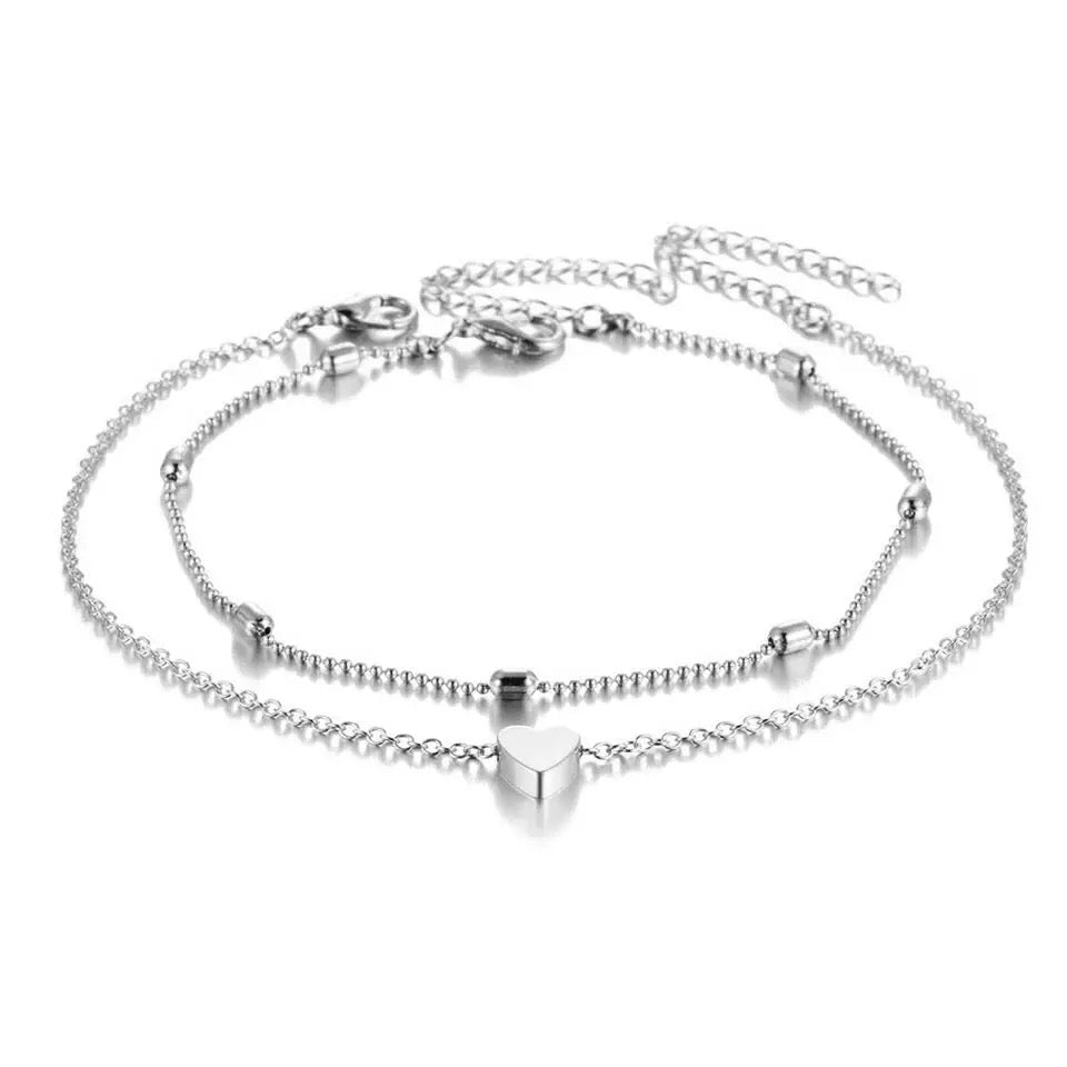 HEART ANKLET IN WHITE GOLD