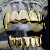 VAMPIRE TEETH GRILLZ YELLOW GOLD PLATED