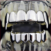 VAMPIRE TEETH GRILLZ WHITE GOLD PLATED