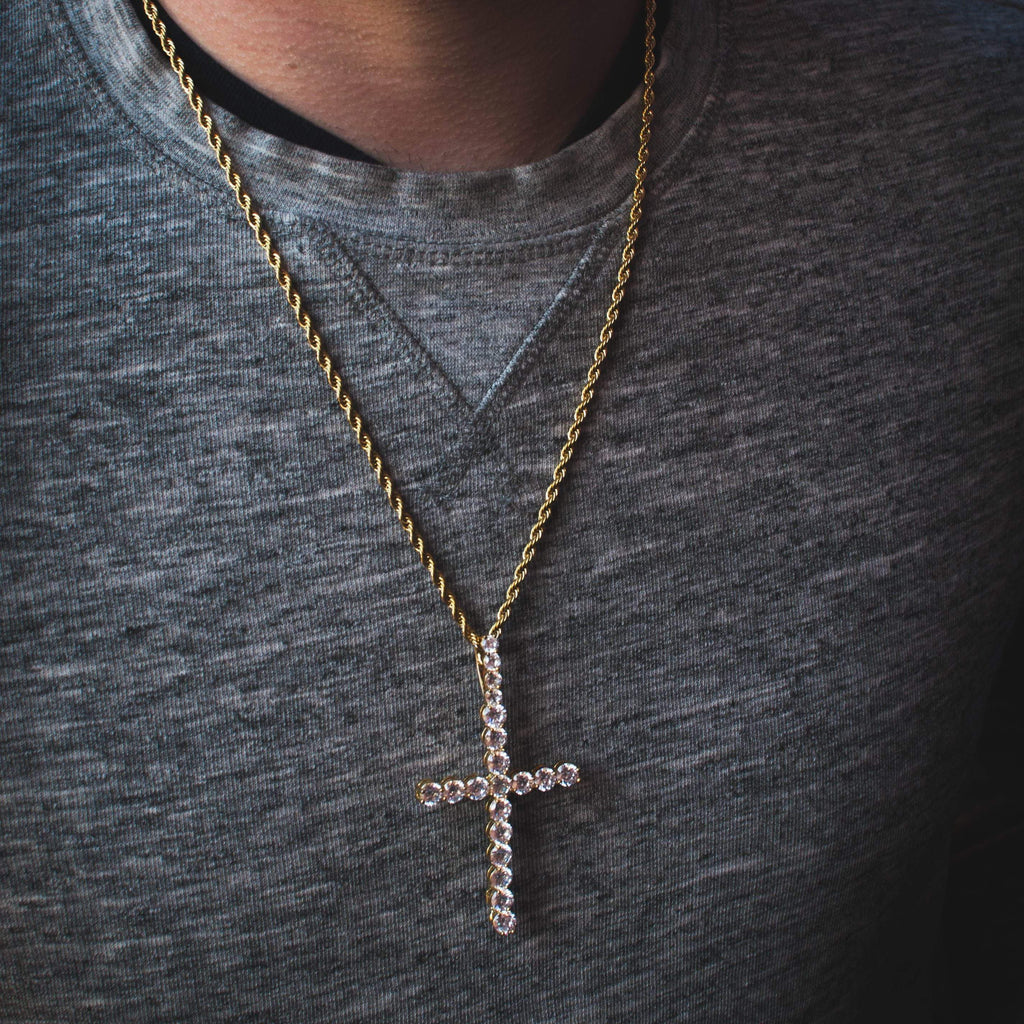 LONG CZ DIAMOND CROSS PENDANT YELLOW GOLD