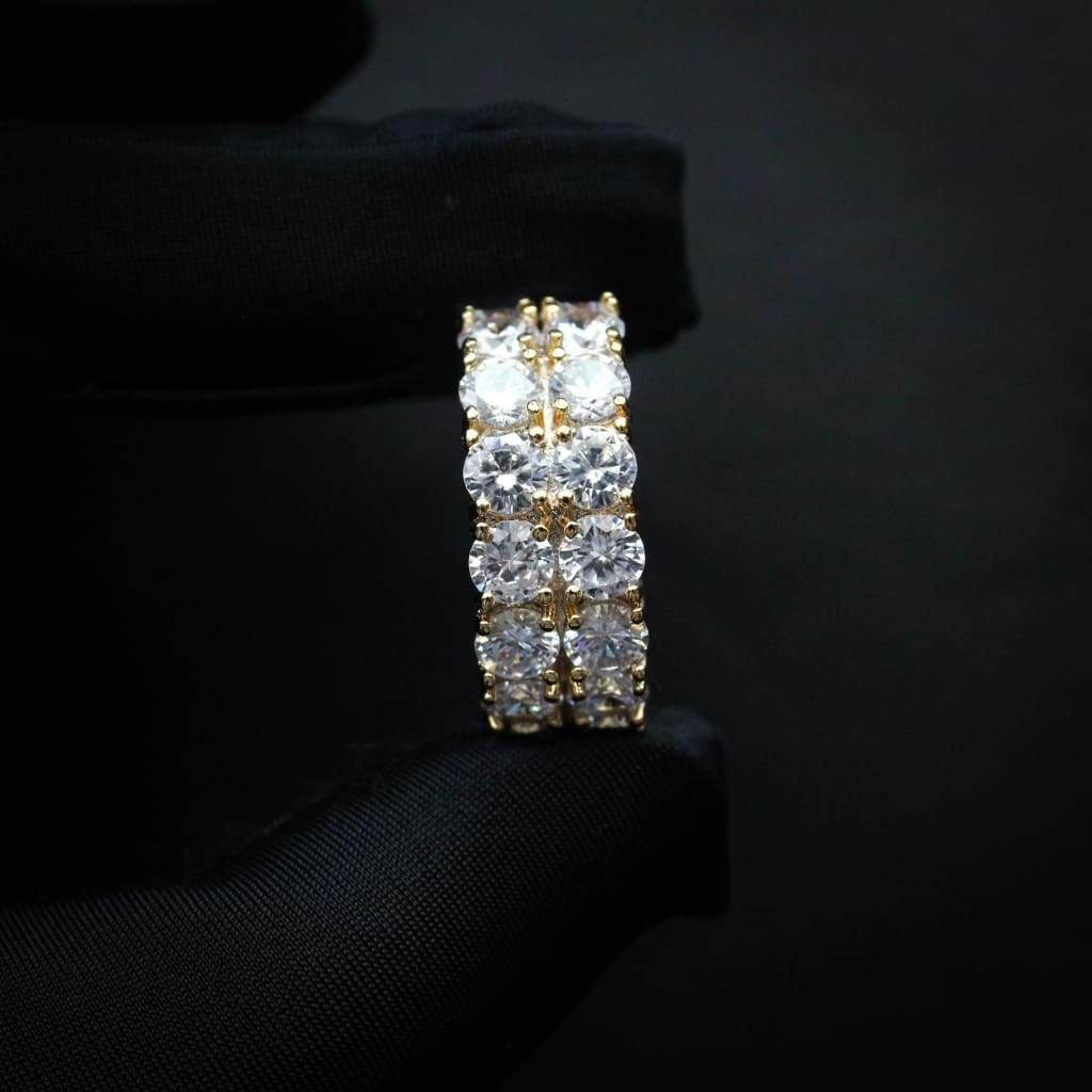 DOUBLE ROW DIAMOND CZ ETERNITY RINGS YELLOW GOLD