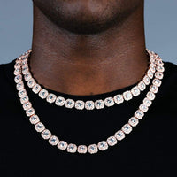 10MM CLUSTERD TENNIS CHAIN-ROSE GOLD