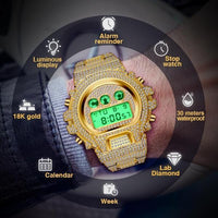 ROYAL LED WATCH IN 18K GOLD WITH CZ DIAMOND
