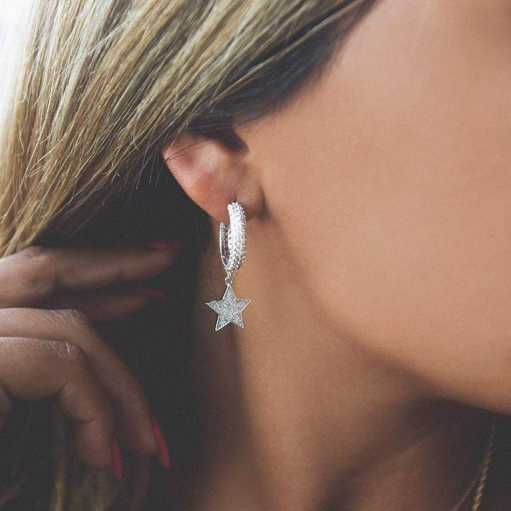 STAR HOOP EARRING IN WHITE GOLD