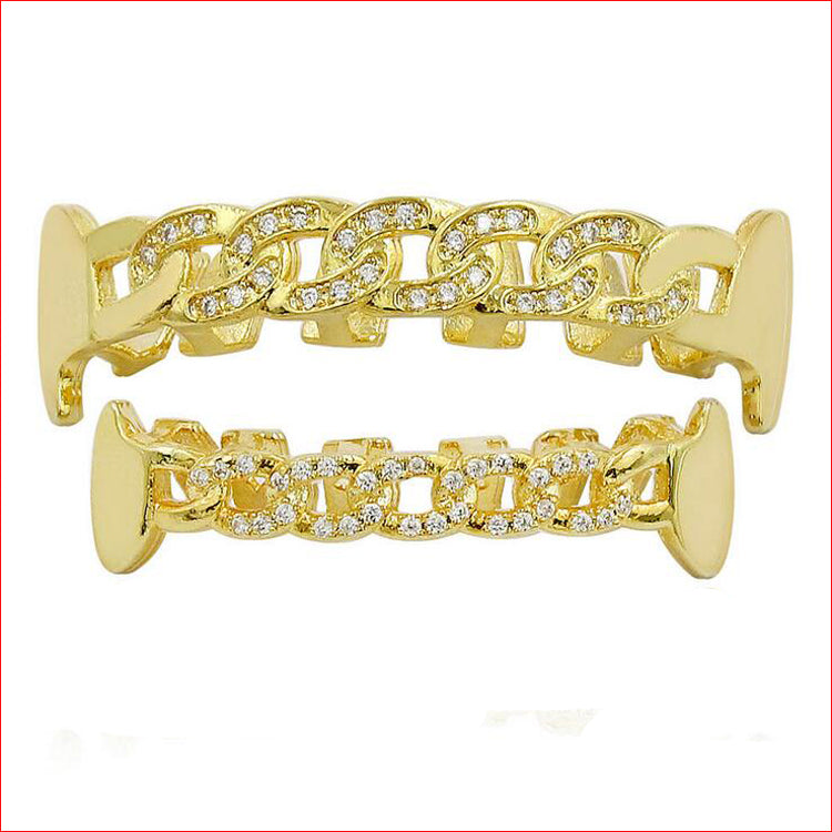CUBAN LINK YELLOW GOLD PLATED DIAMOND SIMULATED TEETH GRILLZ
