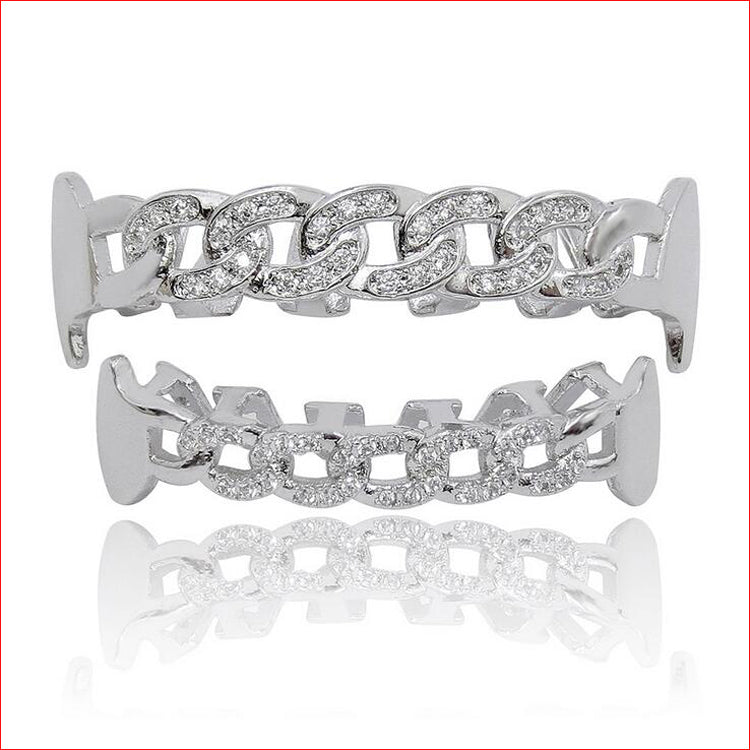 CUBAN LINK WHITE GOLD PLATED DIAMOND SIMULATED TEETH GRILLZ