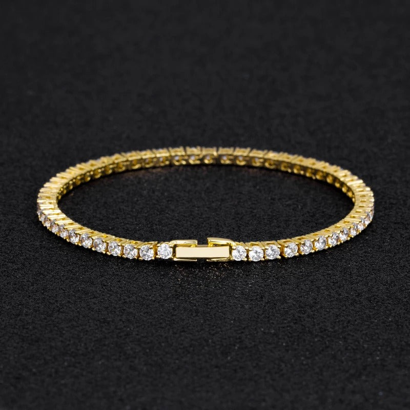 3MM TENNIS BRACELETS ALLOY YELLOW GOLD PLATED