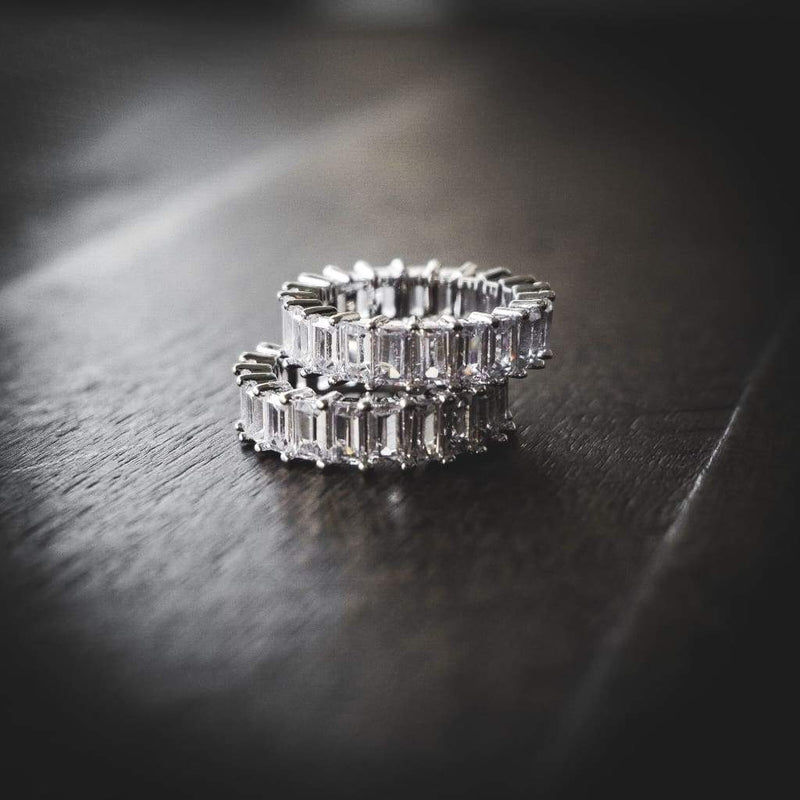 BAGUETTE DIAMOND 18K CZ ETERNITY RINGS WHITE GOLD