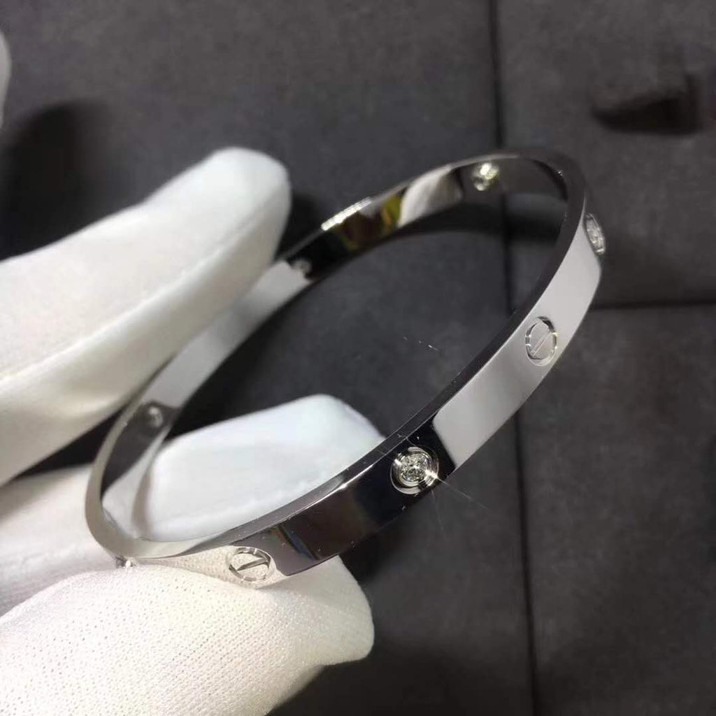 LᎾVE BANGLE WHITE GOLD WITH CZ STONE