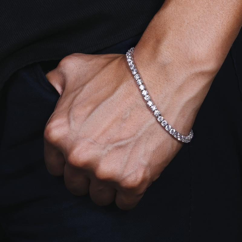 3MM TENNIS BRACELETS ALLOY WHITE GOLD PLATED
