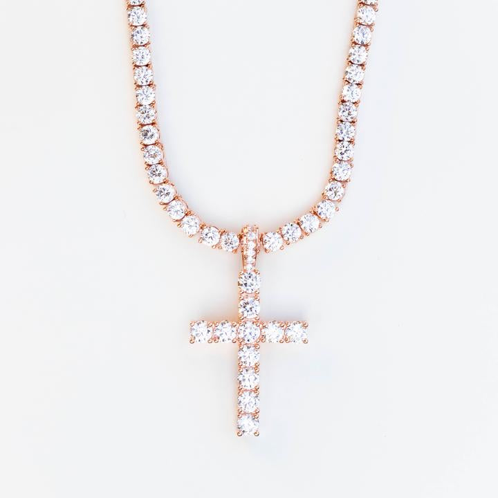 14K PREMIUM ICED CROSS PENDANT ROSE GOLD