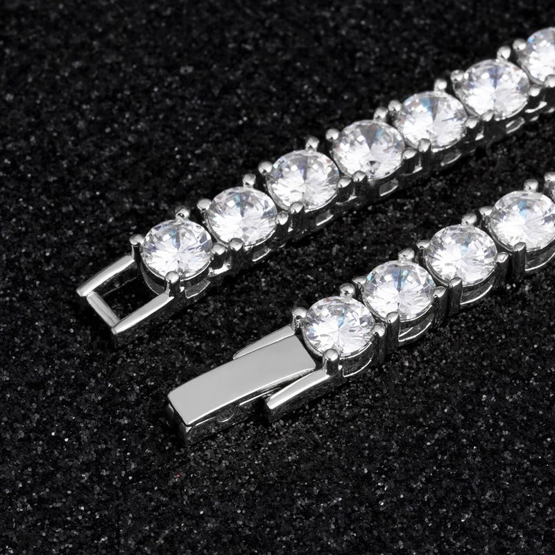 3MM TENNIS CHAIN ALLOY WHITE GOLD PLATED