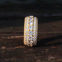 925.SOLID SILVER WITH 18K ROYAL GOLD ETERNITY RINGS (15.45grams)