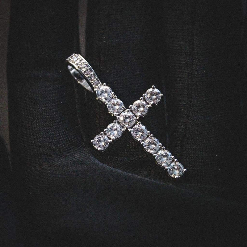 14K PREMIUM CZ CROSS PENDANT WHITE GOLD