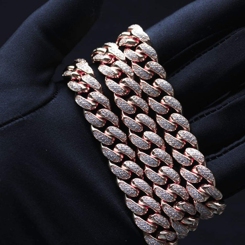 12MM CZ CUBAN LINK CHAIN IN 18K ROSE GOLD