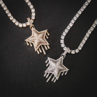 DRIPPING STAR PENDANT IN WHITE GOLD
