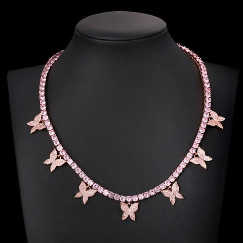 BUTTERFLY PREMIUM CZ TENNIS CHOKER ROSE GOLD