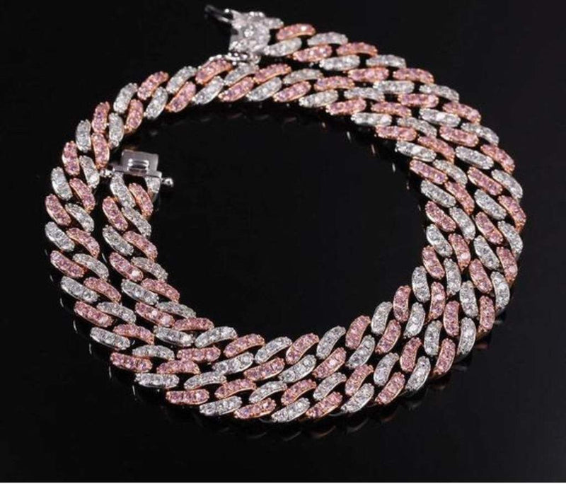 8MM 2-TONE STRAWBERRY CUBAN CHOKER
