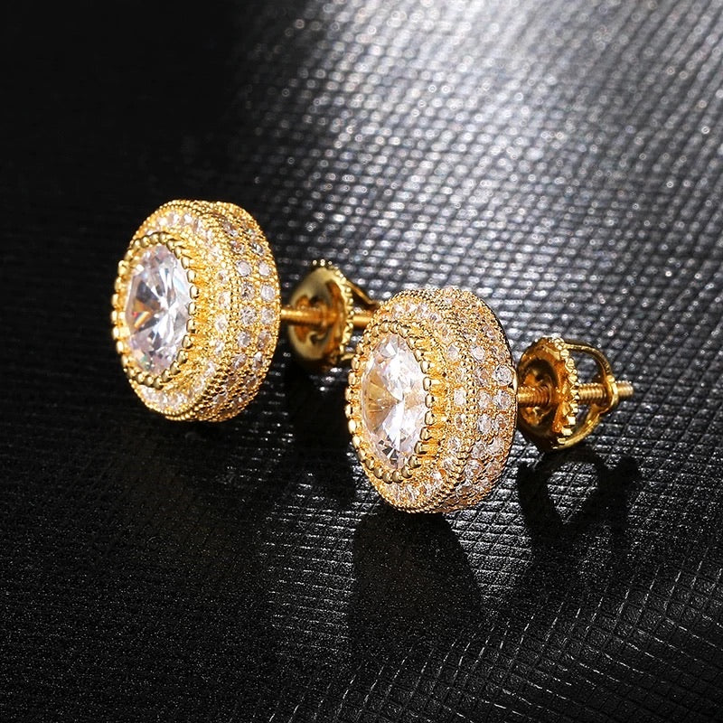 THREE ROWS HALO STUD EARRINGS IN YELLOW GOLD