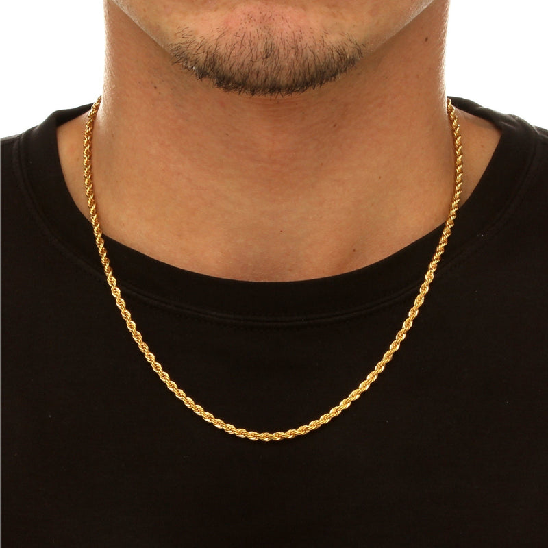 3MM STAINLESS STEEL GOLD ROPE CHAIN